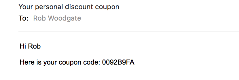 How to distribute coupon codes to your aweber list and there you go your email will be personalised with the subscribers unique coupon code fandeluxe Gallery