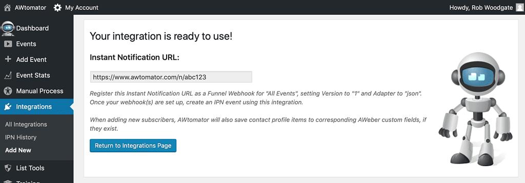 Grab the IPN URL ready for Clickfunnels webhook setup