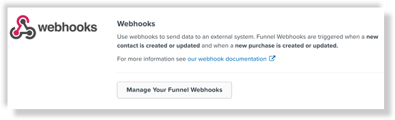 Manage webhooks in the funnel settings