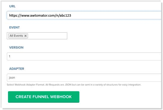 Create a new webhook in Clickfunnels