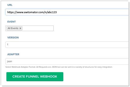 Create a new webhook in Clickfunnels