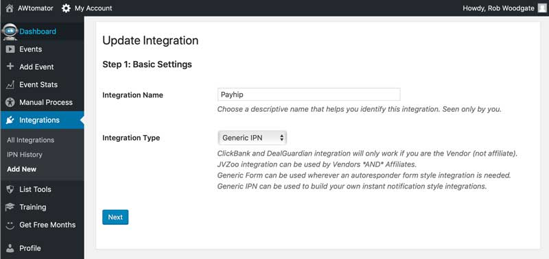 Payhip integration settings - step 1