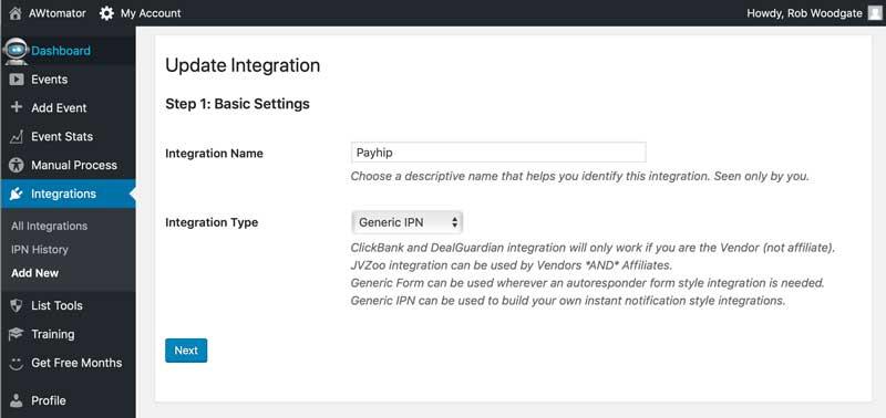 Payhip integration settings - step 1