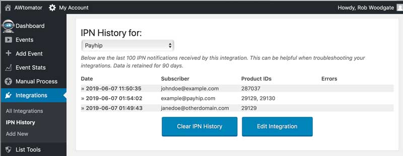 View incoming Clickfunnels notifications in the IPN History log